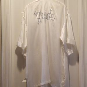 VS I DO Collection Bride White Satin Robe One Size